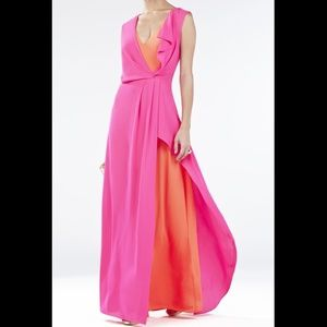 BCBGMaxazria Pink Orange Split Flowy Chiffon Dress